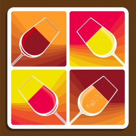 tilted: Wine collage of four stylised illustrations showing different varieties with tilted wine glasses each filled with a different colour liquid
