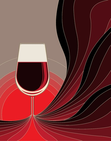glass half full: Dynamic conceptual illustration of the birth of wine with flowing lines in shades of red fusing to form the stem of a wine glass filled with red wine Illustration