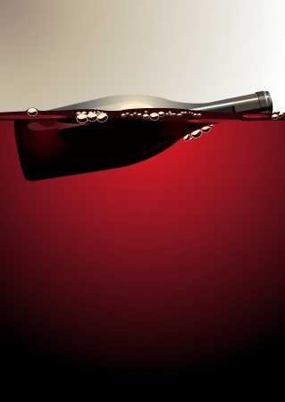 buoyant: Illustration of an empty unlabelled wine bottle floating on red wine with bubbles adhering to the glass with copyspace