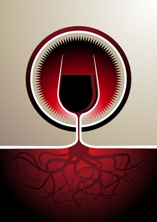 wine growing: Stylish red wine icon with the glass depicted as the vine with the soil forming the stem of the glass with the roots visible below Illustration