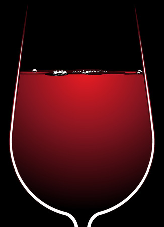 Illustration of the bowl of a wineglass full of red wine with backlighting outlining the glass and sparkling bubbles on the surface of the liquid