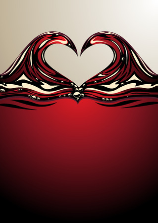 copyspace: Romantic curling symmetrical heart shaped waves on the surface of red wine with copyspace for your Valentine, wedding or anniversary message, illustration