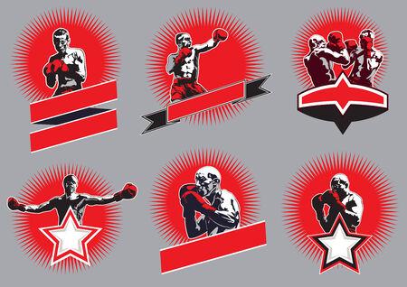 boxeador: Conjunto de seis iconos vectoriales diferentes Deporte de combate o emblemas que muestran una sola lucha del boxeador, dos boxeadores de sparring y un campeón