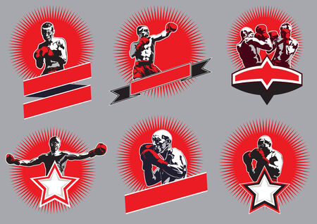 Set of six different vector combative sport icons or emblems showing a single boxer fighting, two boxers sparring and a champion  Illustration