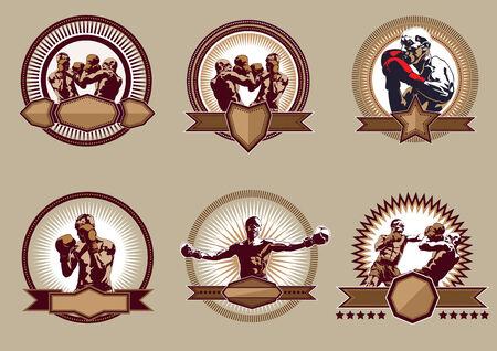 boxeador: Conjunto de seis iconos vectoriales diferentes Deporte de combate o emblemas que muestran una sola lucha del boxeador, dos boxeadores de sparring y un campeón con los brazos levantados, algunos con escudos y banderas