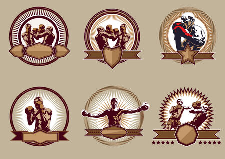 combative sport: Set of six different vector combative sport icons or emblems showing a single boxer fighting, two boxers sparring and a champion with raised arms, some with shields and banners Illustration