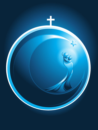 Round Christmas icon in the form of a glowing Xmas bauble decoration topped with a cross enclosing a stylized flowing figure of Mary and baby Jesus surrounded by a glowing halo