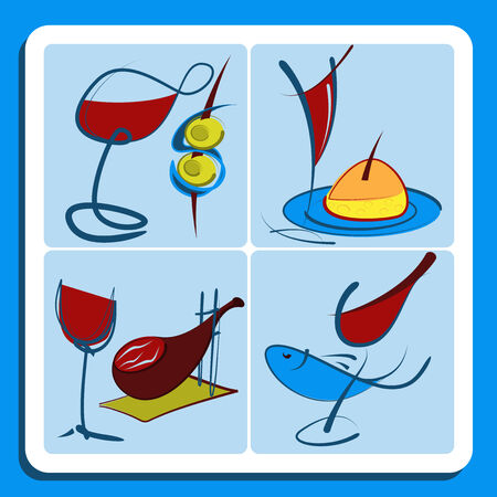 spanish food: Colorful doodle sketches of Spanish red wine served accompaning various food dishes including olives, appetizers, meat and fish in square format