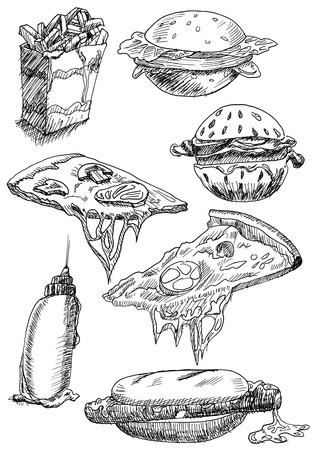 set of illustrations or sketches fast food hand drawn with black pen on white paper