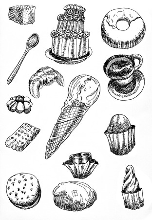 brownie: set of illustrations or sketches of desserts hand drawn with black pen on white paper
