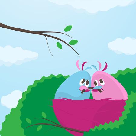 pareja comiendo: Dos pequeñas de color rosa y azul de dibujos animados lindos tortolitos en su nido sentados muy juntos compartiendo un jugoso gusano gordo