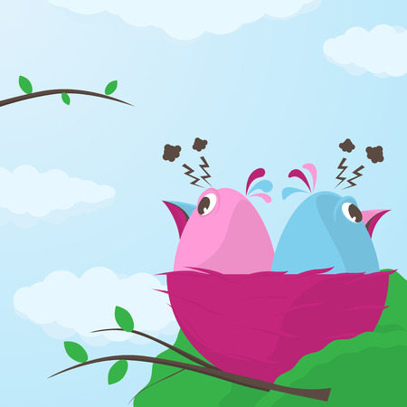 divergence: Two cute little cartoon little birds in a nest having a fight