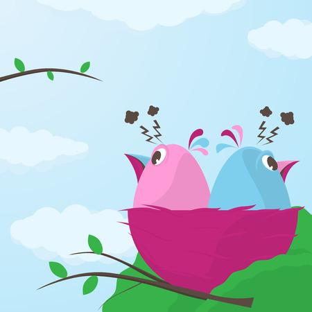 discord: Two cute little cartoon little birds in a nest having a fight