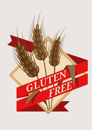 coeliac: Gluten Fee emblem or label with a red ribbon banner with the text  Illustration