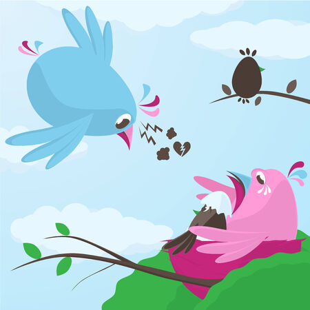 returning: Infidelity and betrayal in love with a poor little blue bird returning to the nest to find his female mate crying