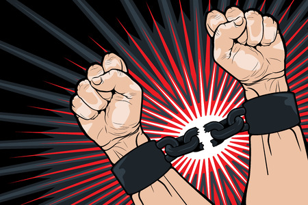 hand chain: Conceptual image of breaking the bonds in a bid