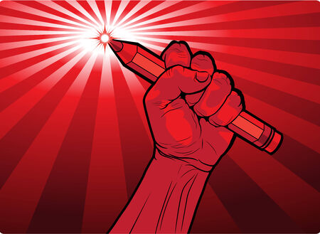 Clenched male fist holding a pencil  Vector