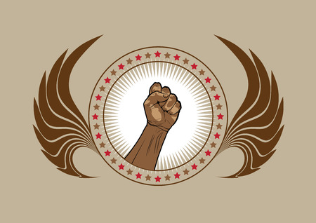 triumphant: Clenched fist symbol or emblem in a circular frame with stars flanked by two wings