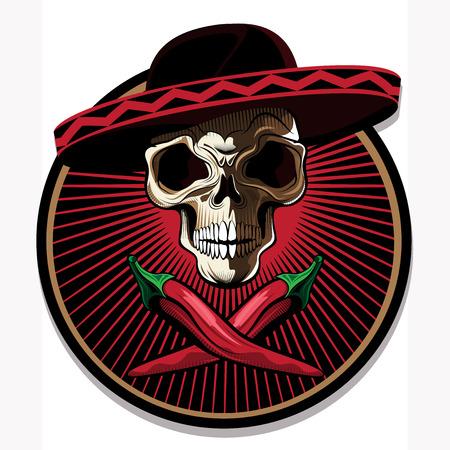 beenderige: Mexicaanse schedel embleem of pictogram met een gruwelijke benige schedel het dragen van een sombrero boven twee gekruiste roodgloeiend Stock Illustratie