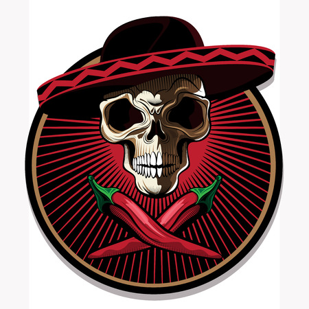 Mexican skull emblem or icon with a ghoulish bony skull wearing a sombrero above two crossed red hot