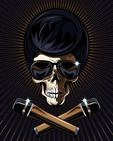 rock star: Rock star skull with a macabre bony skull wearing trendy modern sunglasses Illustration