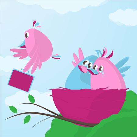 Roztomilý kreslený pták rodina mává na rozloučenou jako jednu ze svých začínající dětí se rozhodne svůj čas opustit hnízdo