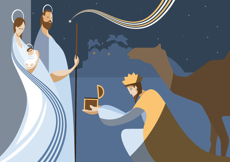 Nativity scene with the three wise men and the child Jesus. In modern flat color style. Vector