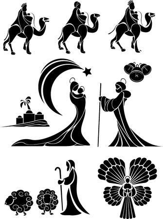 nativity scene icon or shape set.