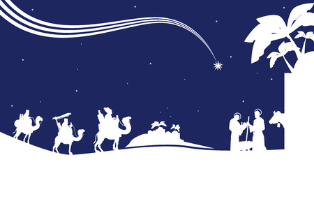 reyes magos: Escena de la natividad con los tres reyes magos y el niño Jesús. Vectores
