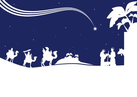 rois mages: Sc�ne de la Nativit� avec les trois hommes sages et l'enfant J�sus.