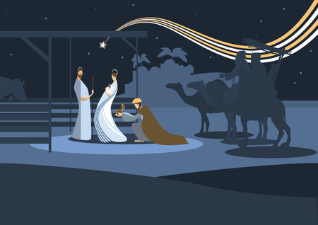 scenes: Nativity scene with the three wise men and the child Jesus. In modern flat color style.