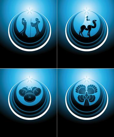 portal de belen: escena de la natividad y el icono conjunto tres hombres sabios en colores azules. Vectores