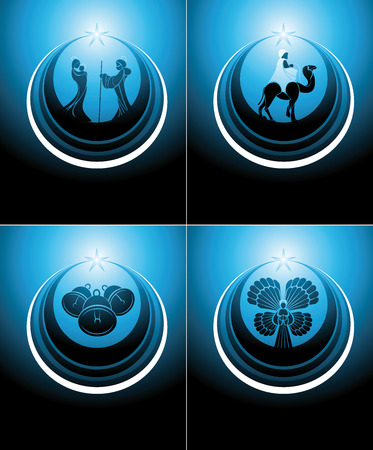 nativity scene and the three wise men set icon in blue colors. Vector