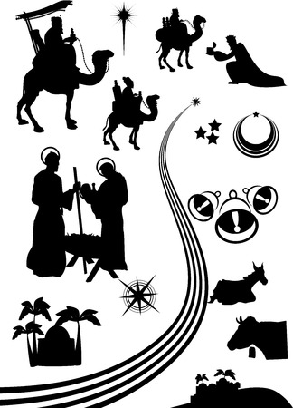 scenes: nativity scene icon or shape set.
