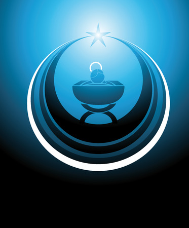 symbol or icon representing the baby Jesus in the manger or crib, inscribed inside a star. Everything in blue colors. 일러스트
