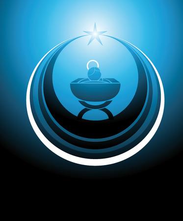 pesebre: s�mbolo o icono que representa al ni�o Jes�s en el pesebre o la cuna, inscrito dentro de una estrella. Todo en colores azules.