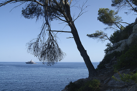View of the Mediterranean Sea with a yacht in the background, Menorca