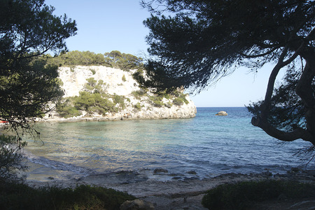 Views of Macarella beach, located in the south of the island of Menorca. Spain. Stock Photo