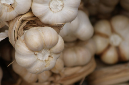 Bunch of garlic sold in the markets of Spain Stock Photo