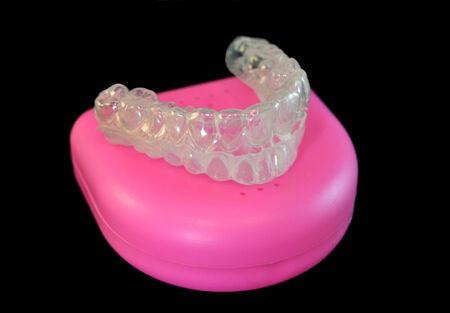 Plastic braces to straighten teeth, closeup Stock Photo - 27566249