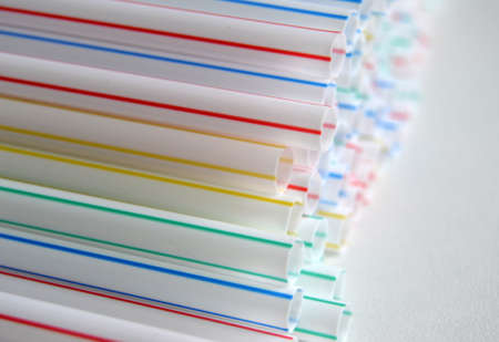 straws: Drinking straws colors closeup Stock Photo