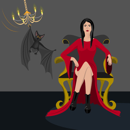 vamp: Lady in red dress sitting on a luxury armchair.
