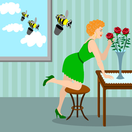 red haired girl: Young red-haired girl admires a bouquet of red roses. Behind the back of the girl in the window fly funny bees. Illustration