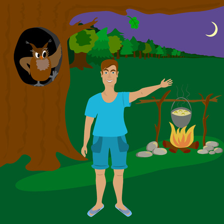 25 29: The man lit a fire in the forest at night. Illustration