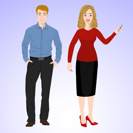 upright: Smiling man and woman in office style wear standing in face and full growth.
