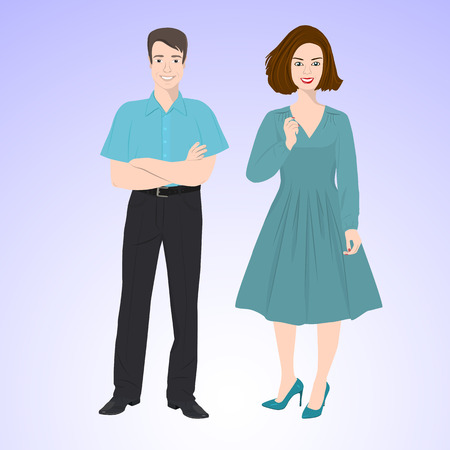 functionary: Smiling man and woman in office style wear standing in face and full growth.