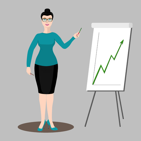 relate: Business woman or teacher says and shows an upward graph.