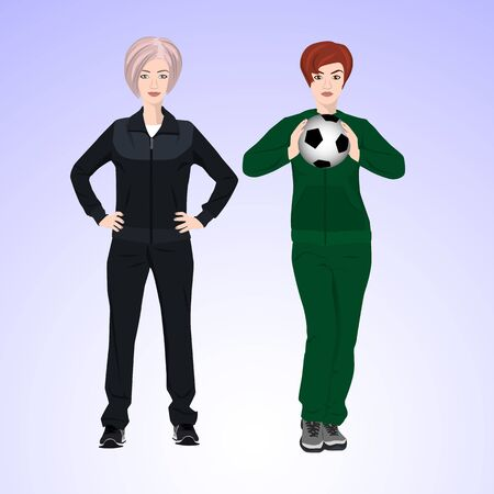 duffle: Two women in tracksuits are holding a soccer ball.