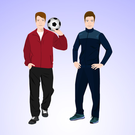 duffle: Two men in tracksuits are holding a soccer ball.