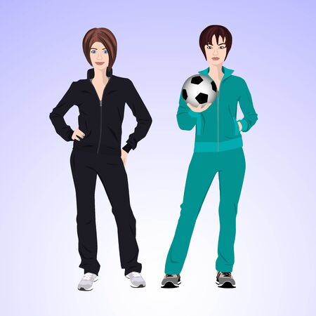 brune: Two women in tracksuits are holding a soccer ball.